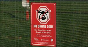 A 'No Drone Zone' sign on the perimeter fence of Dublin airport Photograph: Nick Bradshaw