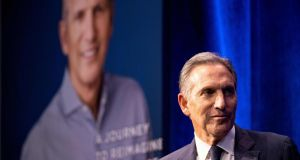 Former chairman and CEO of Starbucks Howard Schultz has said he is considering a run for president of the US, as an independent. Photograph: Johannes Elsele/AFP/Getty Images