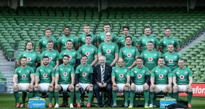 The Ireland team to play England pictured after  the Captain's Run at the  Aviva stadium. Photograph: Dan Sheridan/Inpho