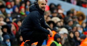Manchester City manager Pep Guardiola. Photograph: Jason Cairnduff/Action Images via Reuters/File Photo