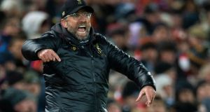 Liverpool's manager Juergen Klopp during the English Premier League soccer match between Liverpool and Leicester City and Burton Albion held at the Anfield Stadium in Liverpool, on Wednesday. Photograph: Peter Powell/EPA