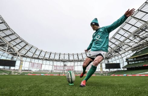HIT FOR SIX: Johnny Sexton is seen during Ireland's captain's run at the Aviva Stadium, Dublin, before Saturday's Six Nations match against England. Photograph: INPHO/Dan Sheridan