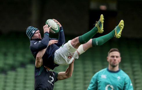 CATCH UP: Peter O'Mahony is seen during Ireland's captain's run at the Aviva Stadium, Dublin, before Saturday's Six Nations match against England. Photograph: INPHO/Dan Sheridan