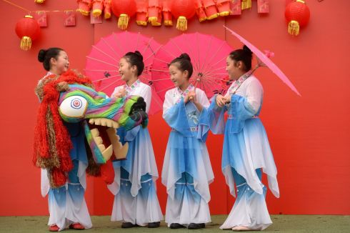 CHINESE NEW YEAR: Lisa An, Amia Zheng, Anna Zheng and Fiona Weng at the launch of the free Chinese New Year Festival taking place on Hill Street, Dublin. Photograph: Dara Mac Dónaill/The Irish Times