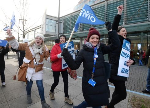NURSES' STRIKE: INMO members from the Mater hospital are pictured in Dublin at the start of a 24-hour strike by the union's members. Photograph: Dara Mac Dónaill/The Irish Times