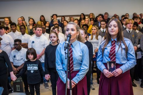 USE YOUR VOICE: Emma Kett from St Mary's, Newport, Co Tipperary, performs at the 'Choirs for Cancer' event in UCD. Photograph: James Forde/The Irish Times