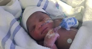 A baby girl who was found abandoned in a park in Newham, east London. Photograph: Metropolitan Police/PA Wire