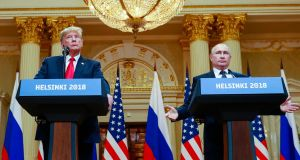 A file image of US resident Donald Trump with Russian president Vladimir Putin during a news conference in  Finland in July 2018. Both countries have withdrawn from a cold war nuclear treaty. Photograph: NYT