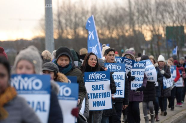 INMO members from Connolly Hospital at the start of the first 24-hour strike on January 30th Photograph: Dara Mac Dónaill/The Irish Times