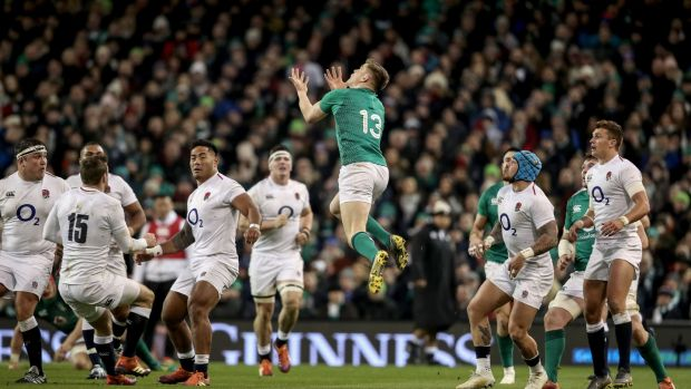 Ireland's Garry Ringrose goes up for a high ball during the Six Nations game against England at the Aviva stadium. Photograph: Dan Sheridan/Inpho