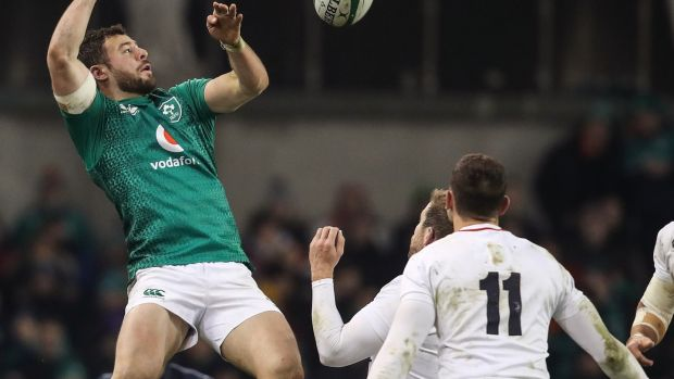 Robbie Henshaw tips back a high ball in Ireland's defeat to England. Photograph: Dan Sheridan/Inpho