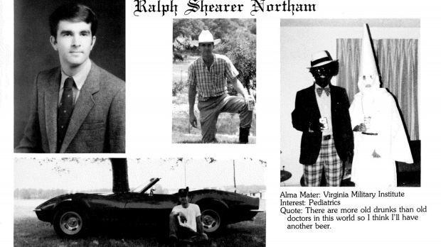 A handout image shows what appears to be the 1984 yearbook page of Ralph Northam, now the governor of Virginia, showing a person dressed as a member of the Ku Klux Klan and another wearing blackface. Photograph: New York Times
