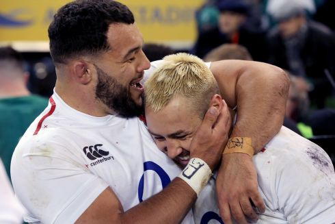 England's Ellis Genge and Jack Nowell pictured at the final whistle. Photo: Tom Honan for The Irish Times.