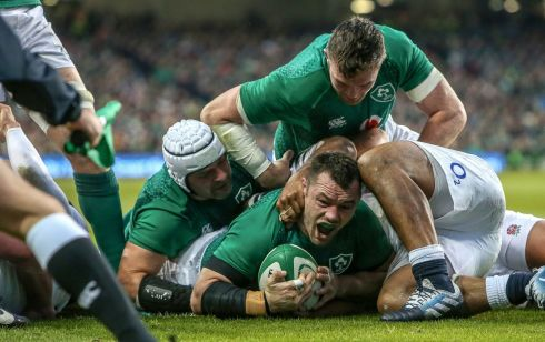 Ireland's Cian Healy celebrates scoring their first try Photo: INPHO/Gary Carr
