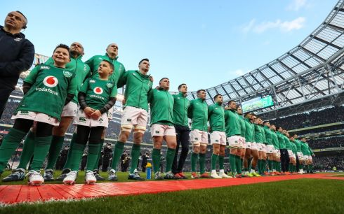 The Ireland team during the national anthem  Photo: INPHO/Billy Stickland
