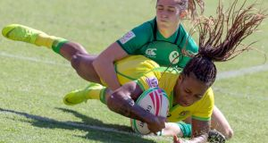 Ellia Green scores during Australia's semi-final win over Ireland in Sydney. Photograph: Craig Golding/EPA