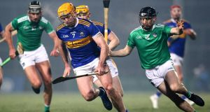 Tipperary's Pádraic Maher in action against Limerick's Graeme Mulcahy during the Allianz Hurling League Division 1A match at the  Gaelic Grounds. Photograph: Ken Sutton/Inpho