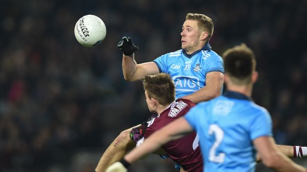 Dublin's Paul Mannion in action against Eoghan Kerin of Galway during the Allianz Football League Division 1 match at Croke Park. Photograph: Tommy Grealy/Inpho