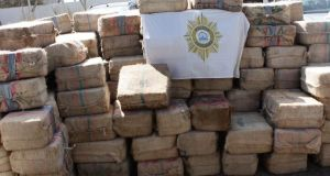 Some of the 260 bales of cocaine found in the cargo hold of the ship Photograph: Cape Verde Judicial Police
