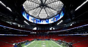 The Super Bowl will take place at the  Mercedes-Benz Stadium in Atlanta. Photograph: Mike Sega/Reuters