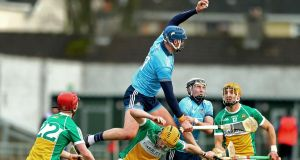 Dublin's John Hetherton wins a high ball during the Allianz Hurling League Division 1B match against Offaly at  O'Connor Park in Tullamore. Photograph: James Crombie/Inpho