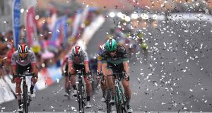 Fernando Gaviria of Colombia and UAE Team Emirates and  Sam Bennett of Ireland and Team Bora-Hansgrohe during the  37th Tour of San Juan . Photograph:  Tim de Waele/Getty Images