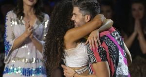 Darren Kennedy and Karen Byrne after they were voted off  Dancing With The Stars. Photograph: Kyran O'Brien