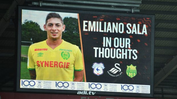 Tribute to Cardiff City striker Emiliano Sala shown on the big screen during the FA Cup fourth round match at the Liberty Stadium, Swansea. Photograph: Simon Galloway/PA Wire