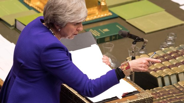 Theresa May speaking during a debate in the House of Commons