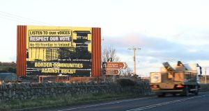 Anti-Brexit posters displayed in Newry on the Northern Ireland Border. Photograph: Stephen Collins/Collins Photos