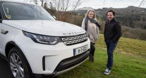 Liz Dwyer and Diarmuid Gavin in Wicklow with 'Disco'; Gavin's nickname for his Land Rover Discovery Commercial. Photographs: Conor Mulhern