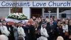 Mourners attend the funeral of Ian Ogle at the Covenant Love Church in east Belfast. Photograph: Niall Carson/PA Wire