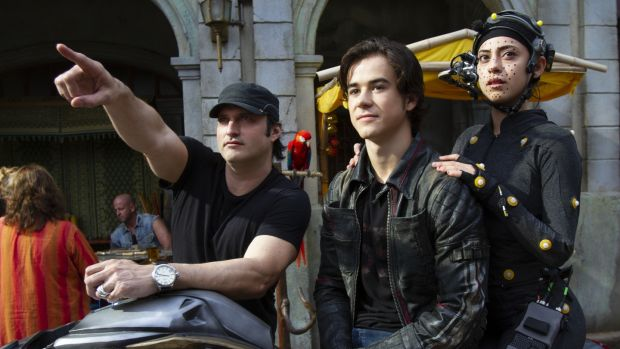 Robert Rodriguez with Keean Johnson and Rosa Salazar on the set of Alita: Battle Angel. Photograph: Rico Torres
