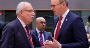Palestinian authority foreign minister Riyad al-Maliki and Tánaiste Simon Coveney during the EU/Arab League meeting in Brussels. Photograph: Olivier Hoslet/EPA