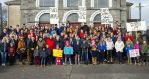 Protestors in Fethard objected to the county council's removal of trees in the village. Photograph: Alan Moore