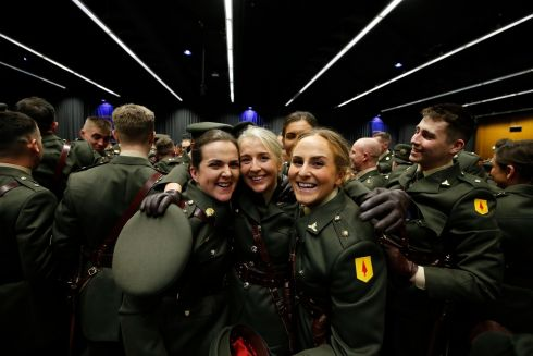 IN THE ARMY NOW: Newly commissioned Army officers Leanne Nolan, of Wexford, with Clare Foley of Meath and Meabh O'Brien, from Kildare.  Photograph: Nick Bradshaw/The Irish Times