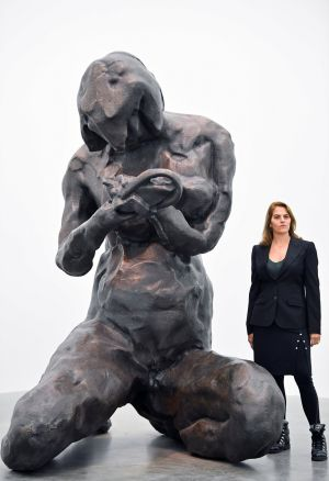 THE MOTHER: British artist Tracey Emin stands beside bronze sculpture The Mother during the launch of A Fortnight of Tears, an exhibition of new works by her, at White Cube gallery in London, Britain. Photograph: Toby Melville/Reuters