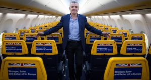 Ryanair chief executive Michael O'Leary, aboard one of his aircraft at Stansted Airport.  Photograph: Stefan Rousseau/PA Wire