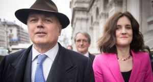 Iain Duncan Smith and Theresa Villiers arrive at the cabinet office in Westminster for a meeting of the Alternative Arrangements Working Group to examine the Malthouse compromise. Photograph:  Stefan Rousseau/PA