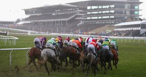 A view of the field as it enters the home straight in the Randox Health County Handicap Hurdle at the 2018 Cheltenham Festival. Photograph: Michael Steele/Getty Images