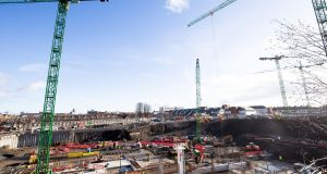 A view of the construction site of The National Children's Hospital. Photograph: Tom Honan