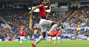Manchester United's Marcus Rashford celebrates after scoring the opening goal of the English Premier League win over Leicester City. Photo: Ben Stansall/Getty Images