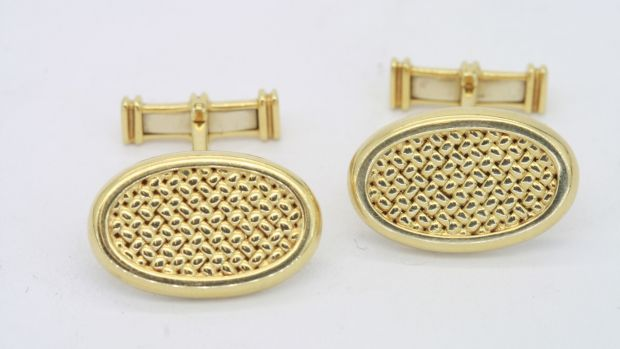 18kt gold cufflinks by Dunhill, €1,450, JW Weldon, Clarendon Street,