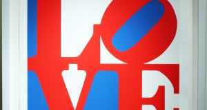 Robert Indiana's – Love, Red and Blue signed screen print is available from Gormleys Fine Art, (1996 from an edition of 200 prints) €9,800.