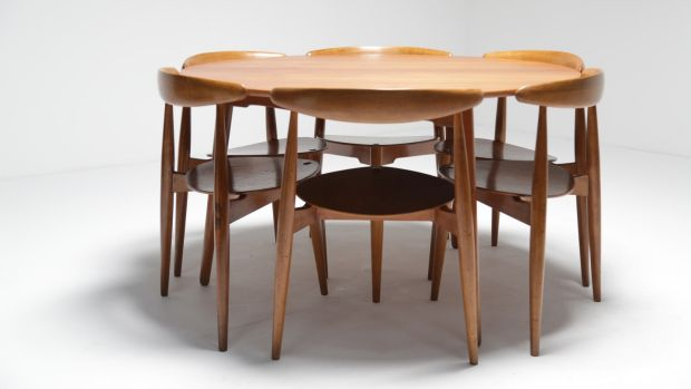 The Heart DIning Set, a rare piece by Danish designer Hans Wegner in teak and oak 4,950 from Vintage Hub.com.