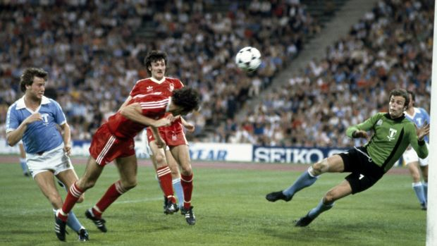 Francis dives to head the ball past Malmo goalkeeper Jan Moller to score the winning goal in the European Cup Final. Photo: Bob Thomas/Getty Images