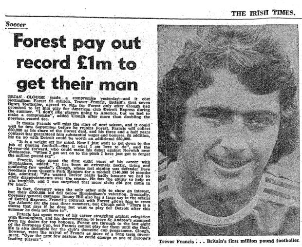 The Irish Times reports on Francis signing for Forest. Photo: The Irish Times archive