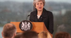 British prime minister Theresa May makes a speech during a visit to  Northern Ireland  in Belfast. Photograph: Liam McBurney/WPA Pool/Getty Images