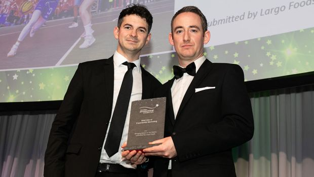 Conor Cullen, Sponsorship and Events Manager, Football Association of Ireland presents the Best Use of Experiential Marketing award to Ian O' Rourke, Largo Foods.