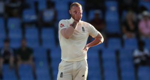 England's Ben Stokes gestures during  second Test  of the crushing defeat to West Indies at the  Sir Vivian Richards Stadium in North Sound, Antigua and Barbuda. Photograph: Ricardo Mazalan/AP
